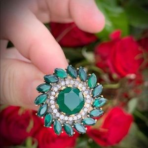 Emerald RING Sz 9 Solid 925 Sterling Silver/Gold